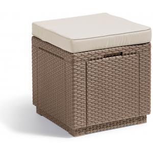 Cube multifunctionele voetenbank cappuccino met kussen
