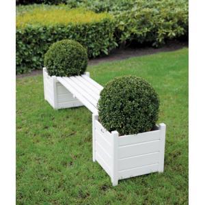 Tuinbank met bloembakken wit