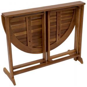 Halfronde opklapbare houten tuintafel 90 x 60 cm