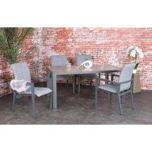 SenS line Bergamo aluminium tuinset 160cm met stapelstoelen