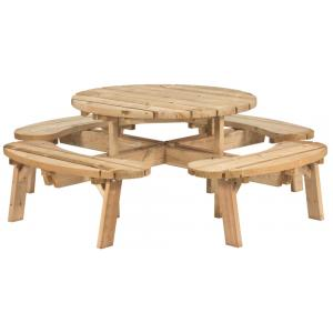 Picknicktafel rond geïmpregneerd