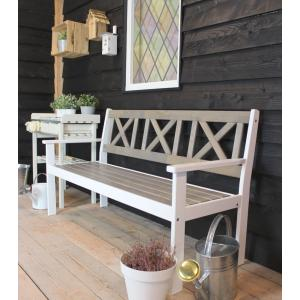 Luton 3-persoons tuinbank grijs / wit